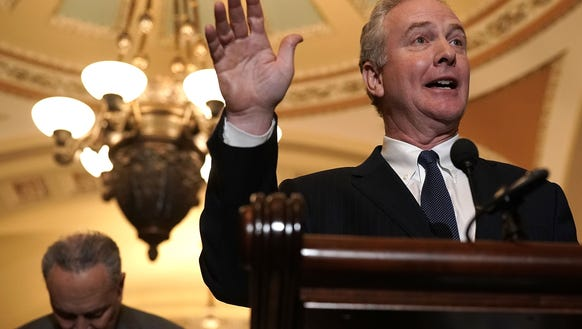 Sen. Chris Van Hollen, D-Md., speaks as Senate Minority