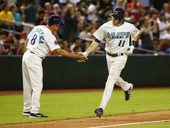 Arizona Diamondbacks A.J. Pollock is greeted by coach
