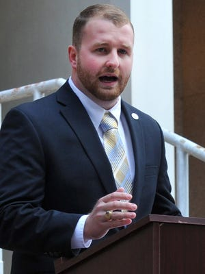 Wichita Falls District 4 City Councilor Jesse Brown announces he will run for Wichita County treasurer Tuesday morning at the county courthouse. Brown, who is looking to unseat long-time Treasurer Bob Hampton, became the young city councilor in Wichita Falls history to be elected into office.