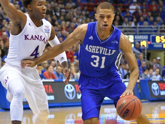 UNC Asheville Bulldogs guard MaCio Teague (31) dribbles