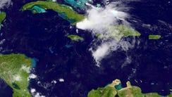 Erika passes over Haiti and Cuba on Aug. 29, 2015.