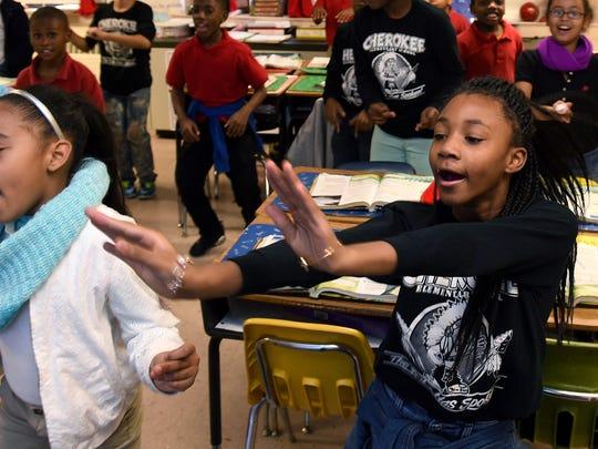 Cherokee Elementary School students Travaisia Harper,