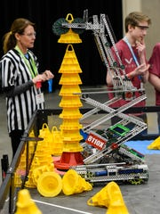 The object was to stack cones with the robot and move