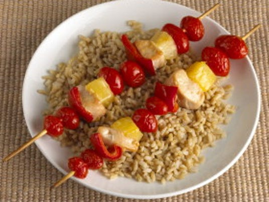 Hawaiian chicken kabobs with brown rice. (Photo: American Heart ...