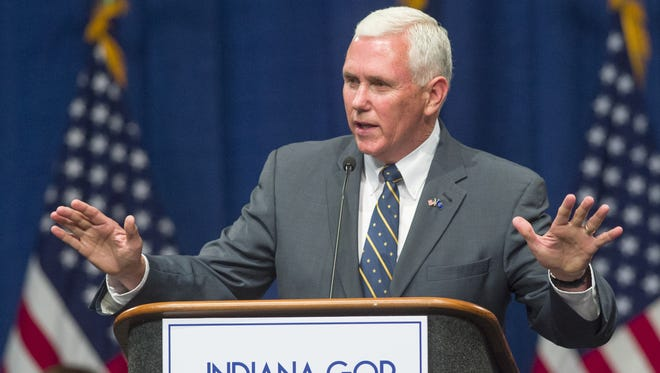 Gov. Mike Pence addresses the delegates during the convention. The Indiana Republican state convention was held Saturday, June, 11, 2016, at the Indiana Convention Center where over 1,900 delegates voted for the candidates that will be on the ballot in November.