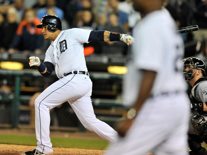 Tigers' Miguel Cabrera singles to score Ian Kinsler and win the game in the bottom of the ninth inning.  Detroit Tigers win 4-3 over the Chicago White Sox at Comerica Park in Detroit on Sept. 23, 2014.