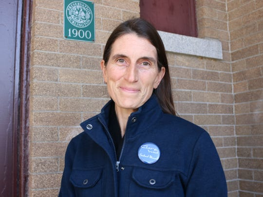 Clare Wool, who is now unchallenged for the School Board Commissioner seat in Burlington's Ward 6, was caught in the crisp air outside Edmunds Middle School on Feb. 2, 2018. Wool is a freelance television producer and help out in a health class as a substitute at Edmunds.