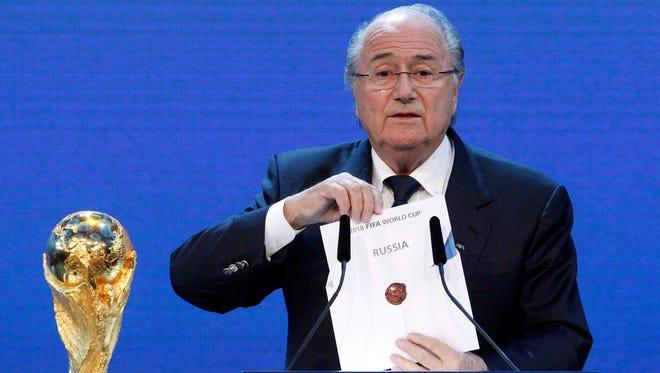 FIFApPresident Sepp Blatter announces Russia as 2018 World Cup host.