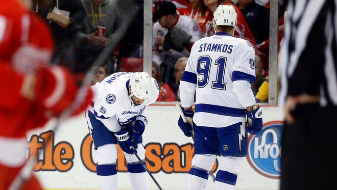 Tampa Bay Lightning defenseman Jason Garrison (5) is out for Monday's game.
