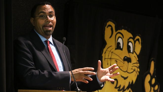 U.S. Secretary of Education John King talks about the importance of good teachers on his life before moderating a panel of educators talking about the Believe & Prepare teacher residency program at Sallie Humble Elementary School in Monroe on Thursday, September 15, 2016. Believe & Prepare is a program that pairs education students with experienced teachers who mentor them during a year-long residency. School districts across the state participate. Louisiana Tech partners with schools across northeast Louisiana to place education students with mentors.
