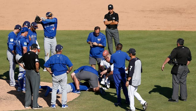 T.J. House was taken off the field in an ambulance Friday.