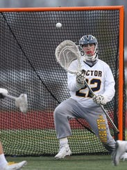 Victor goalie Chayse Ierlan makes this save against