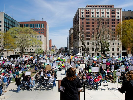 Former Democratic state Senator Gretchen Whitmer, speaks about the impact of science to a crowd of about 2,500 people Saturday, April 22, 2017, during the March for Science -Lansing event.  The march was one of more than 500 planned in cities across the world on Earth Day, emphasizing the importance of science and it impact on society.
