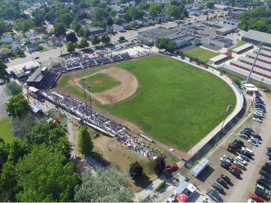 An aerial view of Simmons Field in Kenosha, which was