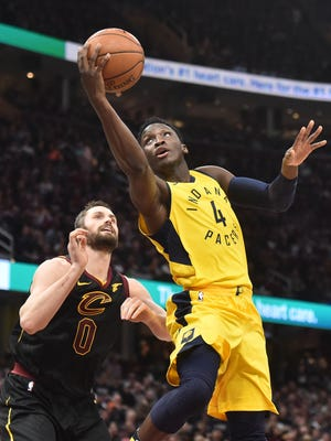 Indiana Pacers guard Victor Oladipo (4) drives to the basket against Cleveland Cavaliers during the first half in game two of the first round of the 2018 NBA Playoffs at Quicken Loans Arena.