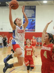 Cooper's Cheyenne Sherwood (10) drives to the basket
