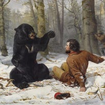 """A Tight Fix - Bear Hunting, Early Winter"" (1856) by Arthur Fitzwilliam Tait"