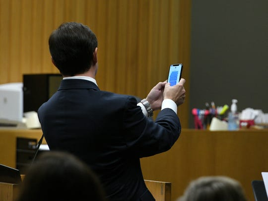 Defense attorney Stephen Ross Johnson questions the