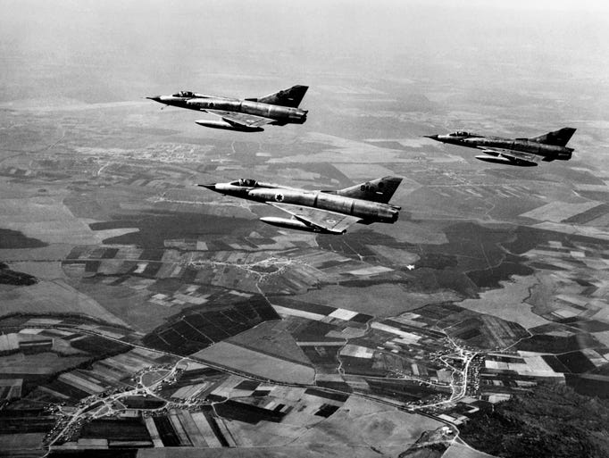 Israeli air force Dassault Mirage III fighters flying