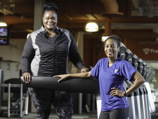 Suzette Hackney gears up for her year-long weight loss challenge with certified personal trainer Dionna Liggans at the YMCA at CityWay.