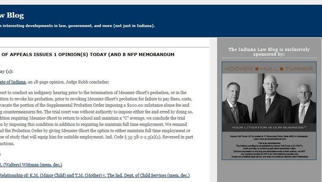 Screenshot of the Indiana Law Blog website showing the blog's sponsor on the right-hand side.