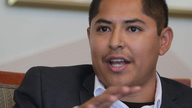 Castulo Estrada speaks at a Desert Sun Editorial Board meeting on Wednesday, October 8, 2014 in Palm Springs. He is running to be on the board of the Coachella Valley Water District.
