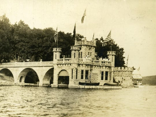 The Hudson Maxim famous Venetian-style boat house, which was a well-known and popular landmark on Lake Hopatcong. The structure would dominate the west shore of the lake for the next 50 years.