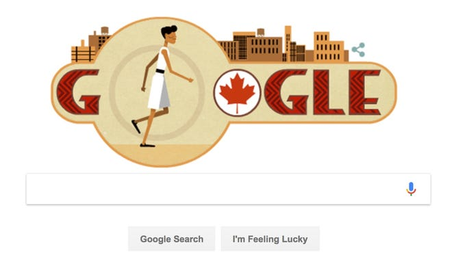Google's Doodle honoring Tom Longboat, a Canadian long distance runner.