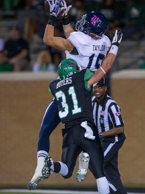 Receiver Jordan Taylor provides a big target for Rice.