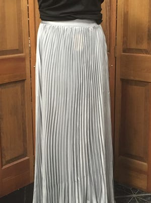 This silver satin pleated maxi skirt is for sale at Levine's Boutique for $15.99.