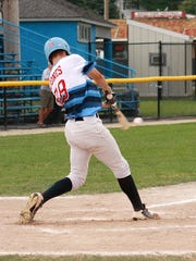 Nick Jones, formerly of Lakeview, plays for Midwest Athletics in the Connie Mack Regional at Bailey Park on Thursday.