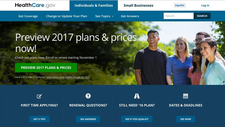 The homepage of HealthCare.gov