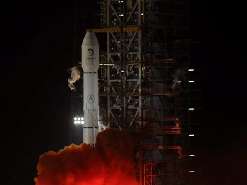 A photo from Dec. 2, 2013, shows the Long March carrier rocket, the vehicle for China's first moon rover mission, blasting off after midnight in Xichang in southwest China's Sichuan province.  China on Dec. 14 that the craft carrying a robotic rover