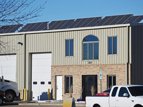 Solar panels can be seen on the roof of Sioux Falls