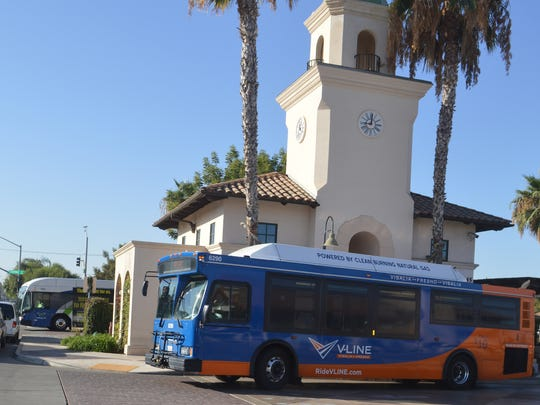 Users get on the V-Line, the daily Visalia-Fresno shuttle.