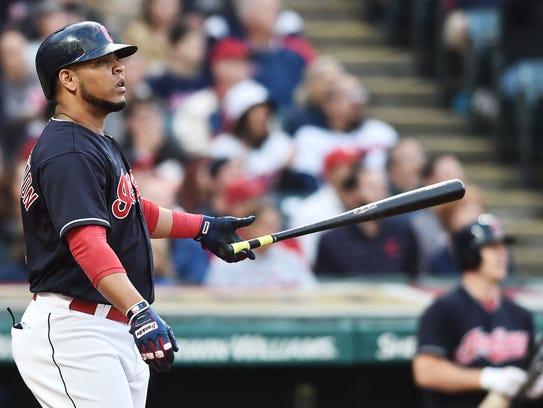 Indians slugger Edwin Encarnacion hits a three-run