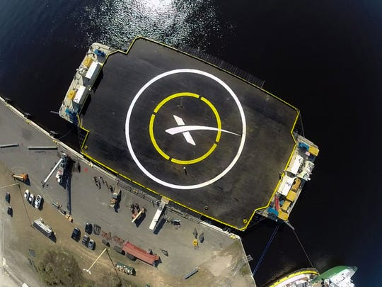 "File image of a SpaceX ""autonomous spaceport drone"