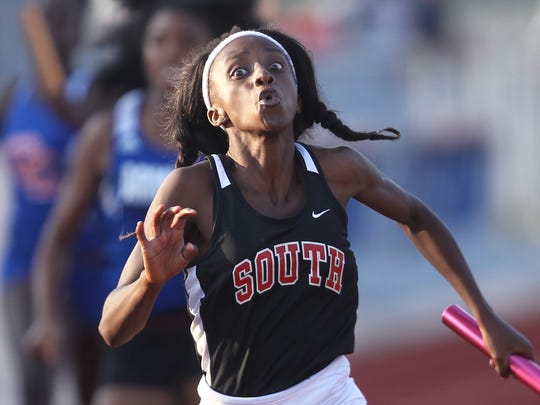 South Fort Myers runner Mirlege Castor and teammates finish in second place in the 4X100 meter relay at the 3A Region 3 meet Thursday.