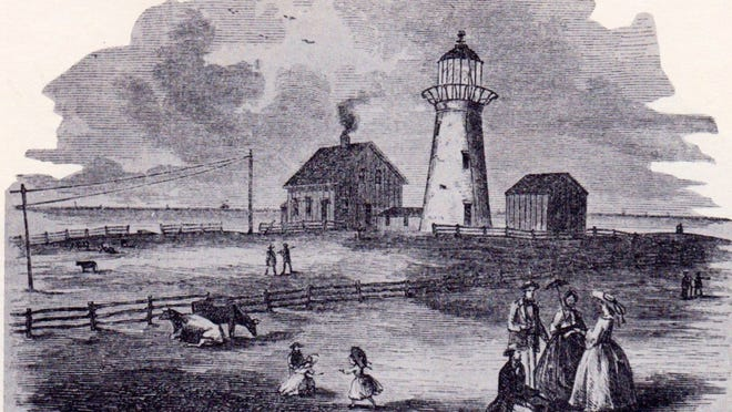 Highland Light, shown in this 1856 illustration, was one of many lighthouses that Winslow Lewis was involved in building during the 1800s.