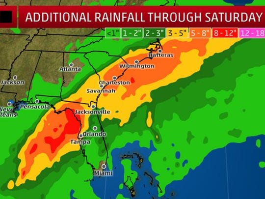 Projected rainfall totals through Saturday associated