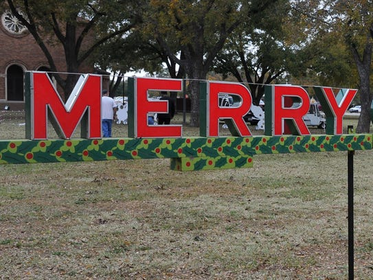 """A """"Merry Christmas To All"""" sign that Midwestern State University employees said they found hidden in a crawl space under the Hardin Administration Building will be a new addition to this year's MSU-Burns Fantasy of Lights display. The lights will come on at dusk on the Nov. 20 and will go off Christmas night."""