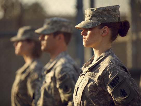 Kristen Stewart as Army private Amy Cole in a scene