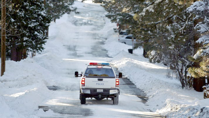 A police vehicle patrols the streets of Big Bear Lake,