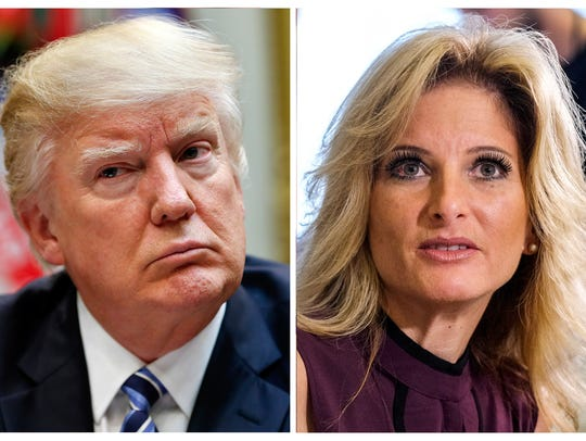 "This combination photo shows President Trump listening during a 2017 White House meeting on health care, and Summer Zervos, a former contestant on ""The Apprentice,"" at a 2016 news conference where she charged that Trump made unwanted sexual contact with her at a Beverly Hills hotel in 2007."