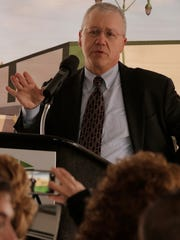 Oshkosh City Manager Mark Rohloff gives remarks Wednesday,