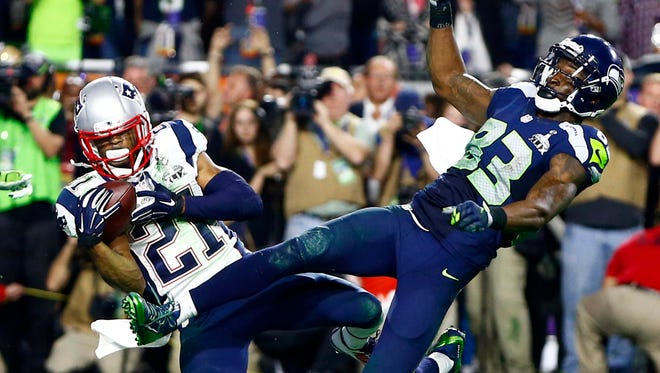 Patriots cornerback Malcolm Butler intercepts a pass intended for Seahawks receiver Ricardo Lockette at the goal line to seal Super Bowl XLIX on Feb 1, 2015 in Glendale, Ariz.