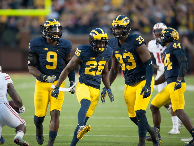 Michigan cornerback Jourdan Lewis  (26) celebrates