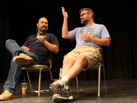 Screenplay writer Jeff, Jed Martin, right, makes his