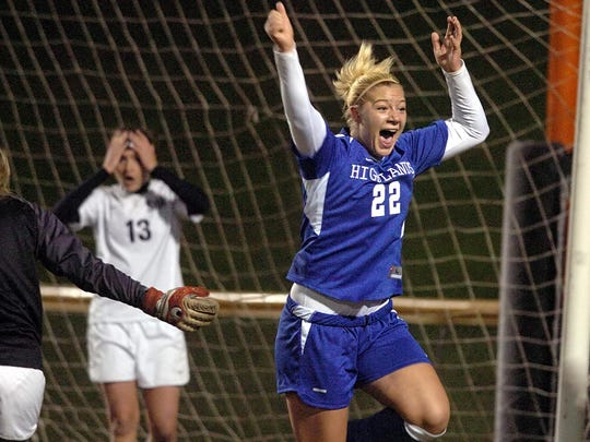 Highlands' Amber Barth celebrates after scoring a goal with 1:01 left on the clock to give Highlands a 1-0 victory over Louisville Sacred Heart for the 2006 state championship.