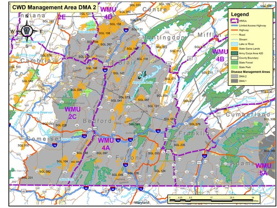Disease Management Area 2 includes much of south central Pennsylvania in June 2017.